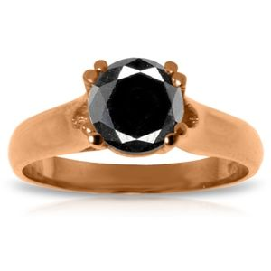 14K. GOLD SOLITAIRE RING WITH 1.0 CT. BLACK DIAMON
